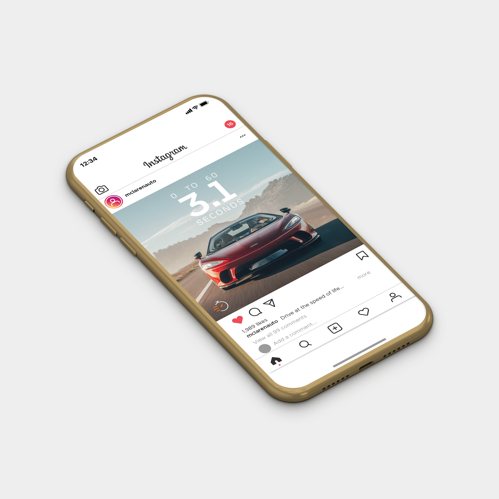 McLaren GT Social Post in Smartphone