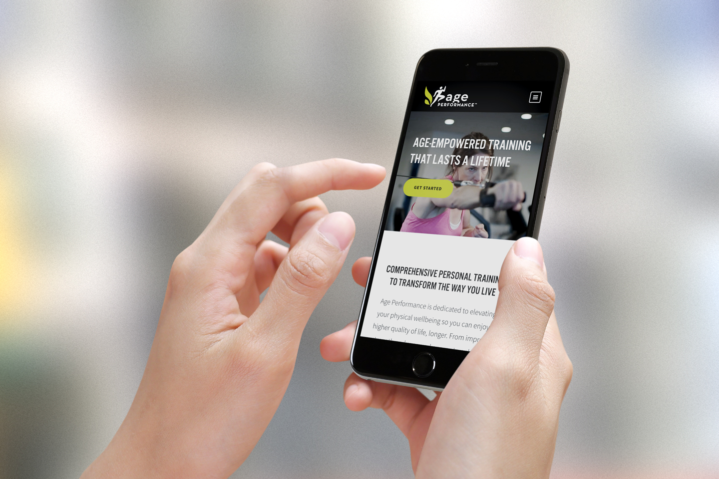 age performance website in a mobile phone