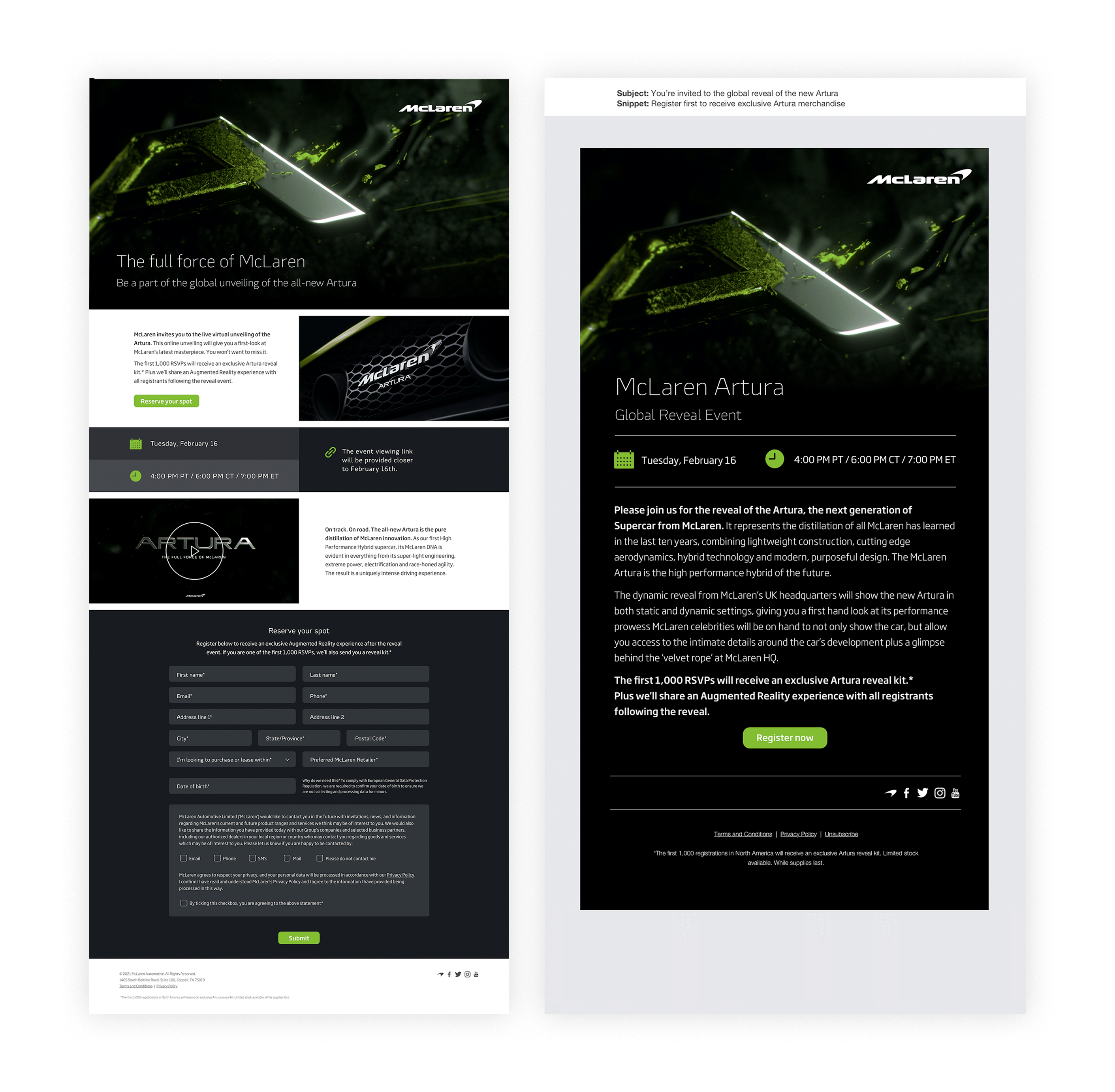 Mclaren landing page and email